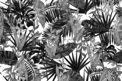Papiers peints Modèle sans couture de fond tropical noir et blanc. Aquarelle de style monochrome.
