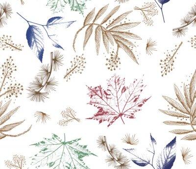 Papiers peints Modèle sans couture de forêt florale. Fleurs sauvages et fond de feuilles