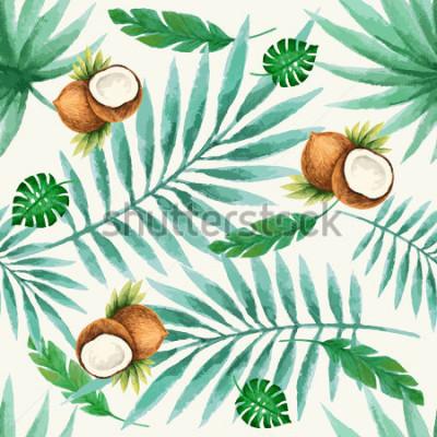 Papiers peints Modèle sans couture de fruits exotiques, aquarelle, illustration vectorielle.