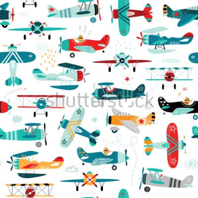 Papiers peints modèle sans couture de garçons avions
