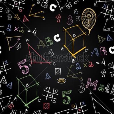 Papiers peints Modèle sans couture de l'école vecteur tableau noir. Retour à l'école. Images drôles sur un tableau noir. Icônes de l'éducation et de la vie scolaire.