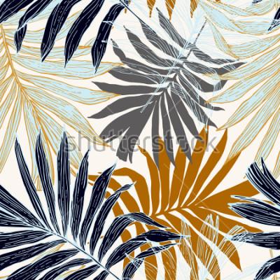 Papiers peints Modèle sans couture de la nature. Dessinés à la main abstrait été tropical: fond de palmier en silhouette, dessin au trait. Illustration de l'art vectoriel en couleurs rétro dorées