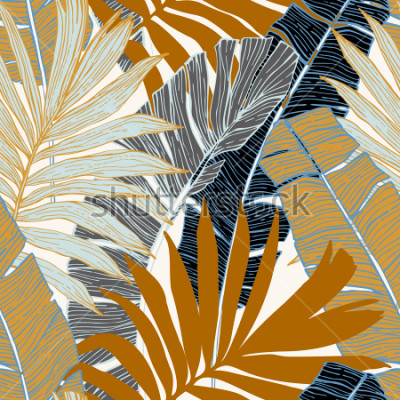 Papiers peints Modèle sans couture de la nature. Main dessinée fond abstrait été tropical: palmier et feuilles de bananier en silhouette, dessin au trait. Illustration de l'art vectoriel en couleurs rétro dorées
