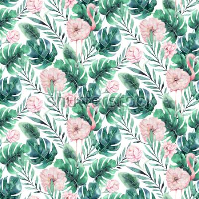 Papiers peints Modèle sans couture de main dessinée flamant oiseau tropical aquarelle. Illustrations d'oiseaux roses exotiques, arbre de la jungle, art branché du Brésil. Parfait pour la conception de tissu. Alo