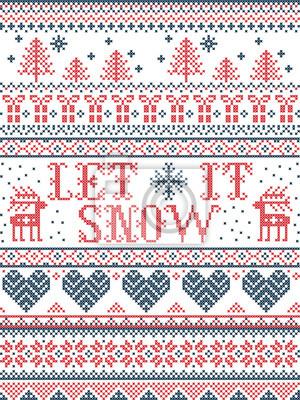 Modèle sans couture de Noël Let it Snow style scandinave, inspiré du Noël norvégien, hiver festif au point de croix avec renne, arbre de Noël, cœur, flocons de neige, neige, cadeaux en rouge, bleu