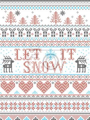 Modèle sans couture de Noël Let it Snow style scandinave, inspiré par le Noël norvégien, hiver festif au point de croix avec renne, arbre de Noël, cœur, flocons de neige, neige, cadeaux, ornements