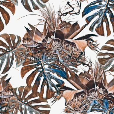 Papiers peints Modèle sans couture de plantes tropicales. Illustration aquarelle Contexte artistique