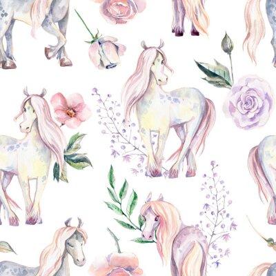 Papiers peints Modèle sans couture de poney magique. Illustration aquarelle, belle