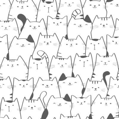 Papiers peints Modèle sans couture de vecteur avec des chats mignons. Doodle art. Chat dessiné à la main sans soudure fond