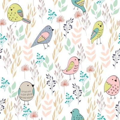 Papiers peints Modèle sans couture de vecteur avec des oiseaux et des fleurs