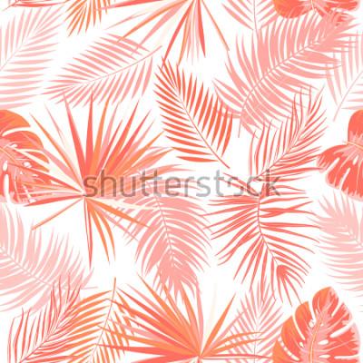 Papiers peints Modèle sans couture de vecteur tropical en couleur de corail vivant. Concept de tendance principale. Conception botanique, feuilles de palmier de la jungle.