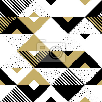 Modèle sans couture doré abstrait géométrique de triangle. Fond de vecteur de modèle triangulaire noir, blanc et or ou texture d'ornement swatch carré ou modèle de tuile de fond de conception mosaïque