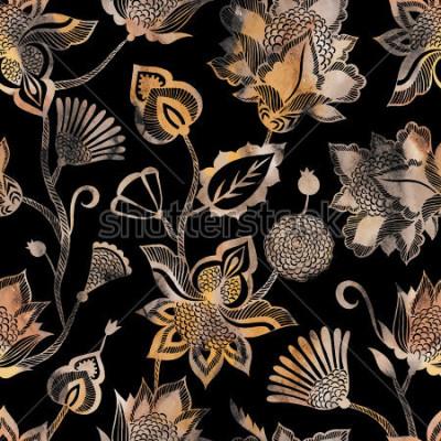 Papiers peints Modèle sans couture ethnique contemporain avec éléments floraux.