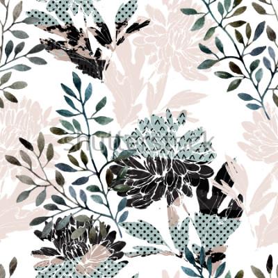 Papiers peints Modèle sans couture floral abstrait. Aquarelle de fleurs, feuilles remplies de textures minimales de griffonnage. Fond naturel. Illustration automne peinte à la main pour tissu, textile, design d '