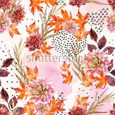 Papiers peints Modèle sans couture florale aquarelle automne. Fond de fleurs de dahlia, feuilles, formes géométriques remplies de texture doodle. Illustration d'art aquarelle dessinés à la main pour la conceptio