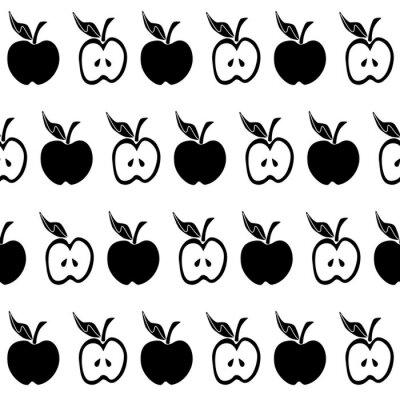 Papiers peints Modèle sans couture pomme noire blanche