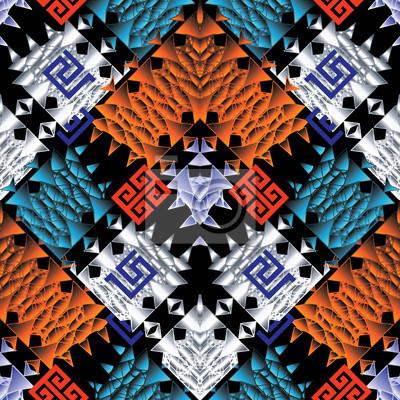Modele Sans Couture Tribal Vecteur Colore Fond 3d Tribu Geometrique