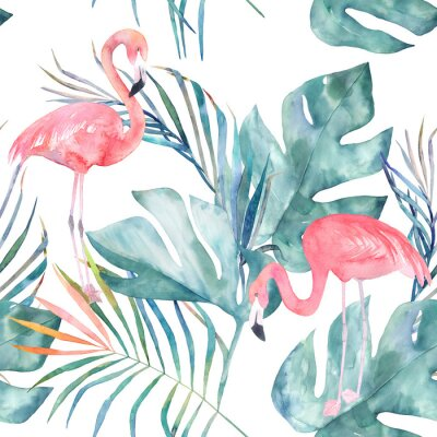 Papiers peints Modèle sans couture tropical avec flamant et feuilles. Impression d'été aquarelle. Illustration exotique dessinés à la main