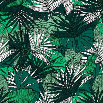 Papiers peints Modèle sans couture tropical. Illustration dessinée à la main avec le feuillage des plantes tropicales. Texture avec des feuilles de bananier, palm et monstera. Conception de vecteur de l'été.