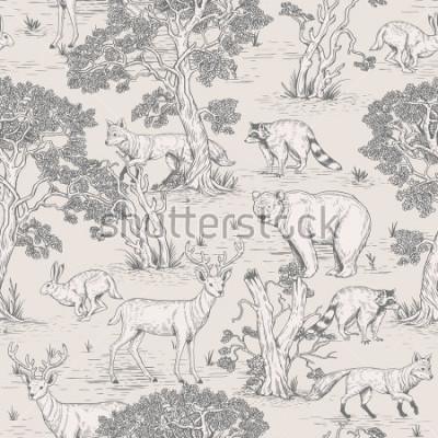 Papiers peints modèle sans couture vintage vecteur d'animaux sauvages illustrés de bois dans la forêt