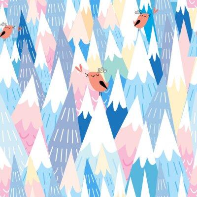 Papiers peints modèle sur les montagnes et les oiseaux