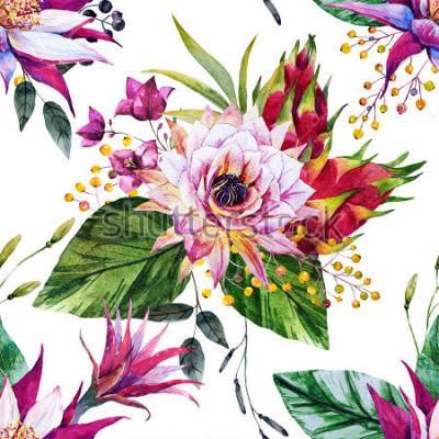 Papiers peints modèle tropical aquarelle, fleur de cactus, Mexique, fruit du dragon, baies jaunes