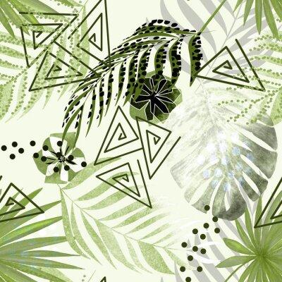 Papiers peints Modèle tropical coloré sans soudure. Feuilles de palmier vert, fond blanc de fleurs.