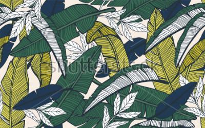 Papiers peints Modèle tropical sans soudure avec des feuilles de bananier. Illustration vectorielle dessinés à la main