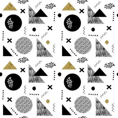 Papiers peints Modèle vintage géométrique sans couture dans le style rétro 80s-90s, Memphis.