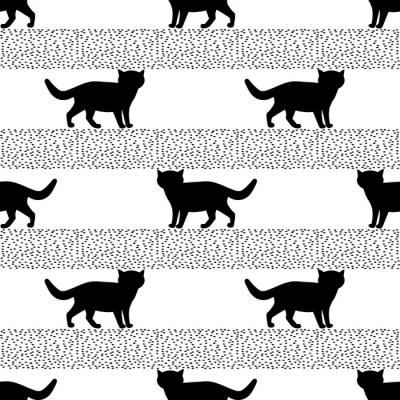 Papiers peints Modèles sans couture avec des silhouettes du chat noir.