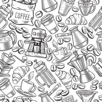 Papiers peints Modélisme de café transparent avec tasses à croquis, boissons chaudes, presse française, brasseur pour café menu.