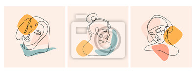 Papiers peints Modern abstract faces. Contemporary female silhouettes. Set of three hand drawn outline trendy vector illustrations. Continuous line, minimalistic concept. Pastel colors