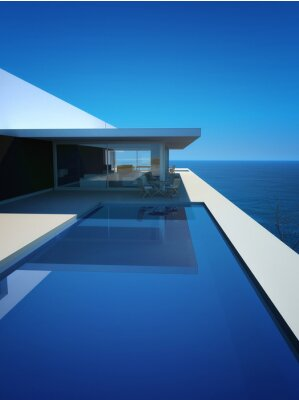 Papiers peints Modern Luxury Loft / Appartement avec vue sur l'océan + Piscine à débordement