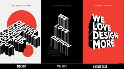 Papiers peints Modern poster design template 3D Text Effect Mockup /full editable text