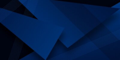 Papiers peints Modern simple dark navy blue background with overlap triangle layers. Blue abstract background with blank space for text. Modern element for banner, presentation design and flyer