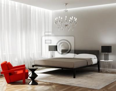 Moderne chambre grise avec un fauteuil rouge papier peint • papiers ...