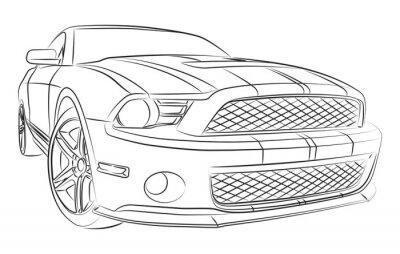 Papiers peints Moderne dessin de voiture de muscle