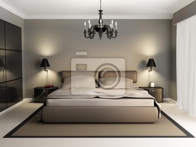 Papiers peints: Moderne et élégant intérieur dune chambre de luxe, avant de