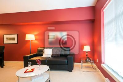 Papiers peints: Moderne lumineux, salon rouge dans une maison de luxe.  conception