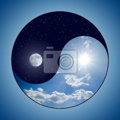 Modification Yin et Yang symbole - journée ensoleillée contre lune la nuit