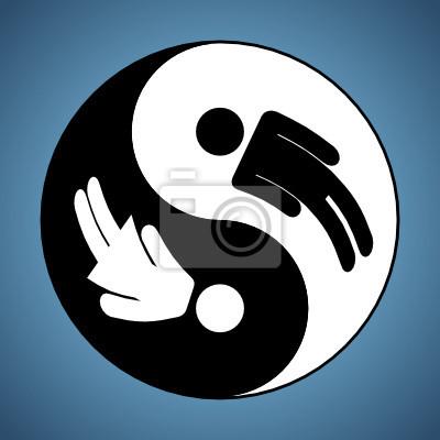 Modifié Yin et Yang signe montrant mand et femme silhouettes