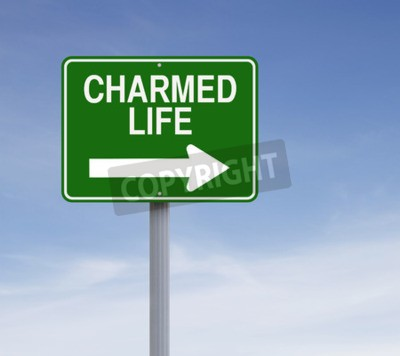 Modified one way sign indicating  Charmed Life