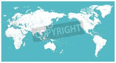 Papiers peints Monde carte plate Asie dans le vecteur du centre.
