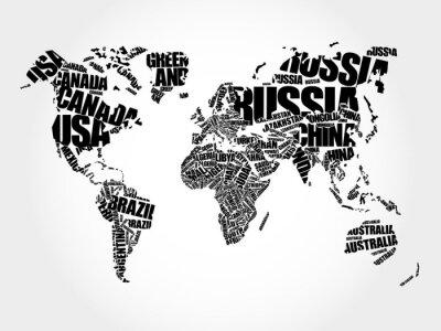 Papiers peints Monde, carte, typographie, mot, nuage, concept, noms, pays