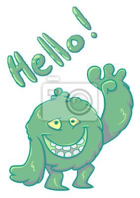 Monstre Pelucheux Drole Vert Dire Bonjour Papier Peint Papiers Peints Monstre Jouet Drole Myloview Fr