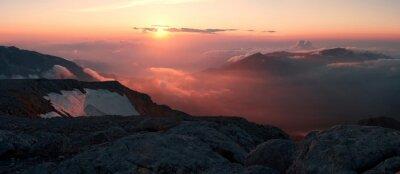 Papiers peints Montagne, coucher soleil, été
