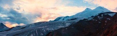 Papiers peints Montagne, coucher soleil, hiver, panorama