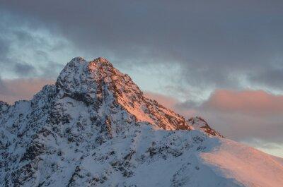 Papiers peints Montagne, coucher soleil, panorama, hiver, élevé, Tatras - Swinica, pic, polonais - slovaque, frontière
