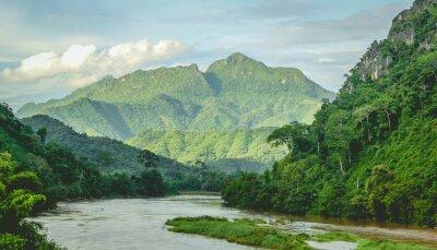 Papiers peints Montagnes, rainforest, rivière, paysage, nord, Laos