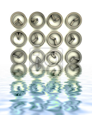 montres métalliques en acier à reflets de l'eau